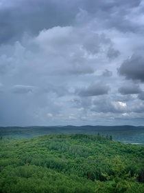 A rain squall moving across the Lanark Highlands Ontario Canada  OC