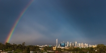 A rainbow dwarfs Brisbane City Australia