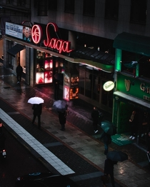 A rainy day outside of a cinema in central Stockholm Sweden