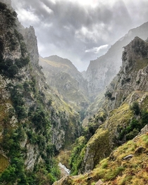 A rainy hike on Ruta del Cares in Picos de Europa National Park -   x