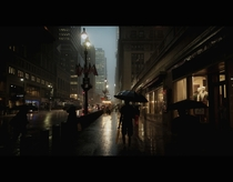 A rainy New York City street framed like a movie shot  Photographed by Vicco Gallo