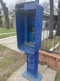 A random phone booth in a neighborhood San Antonio Texas