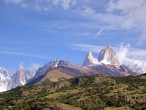 A rare sunny day in Argentinian Patagonia Cerro Torre on the left Fitz Roy on the right