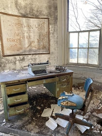 A Rather Pretty Desolate Typewriter in an Abandoned New England Mental Asylum