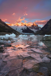 A red sky and shards of ice near Cerro Torre Patagonia  by Jane Wei