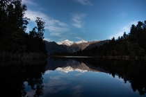 A reflection of Mt Cook on Lake Matheson New Zealand  OC