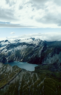 A remote lake while flying over Milford Sounds NZ