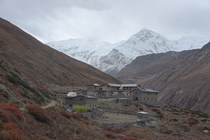A remote settlement in the Annapurna region Nepal