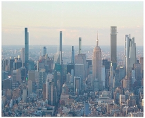 A rendering of the New York Midtown skyline in  after all supertall skyscraper projects have been completed Buildings include Tower Fifth Central Park Tower W Wth  Fifth Avenue and One Vanderbilt