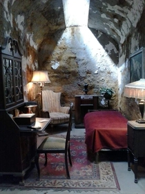 A replica of Al Capones prison cell inside of Eastern State Penitentiary in Philadelphia