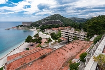 A resort complex of several large abandoned hotels They were severely damaged during the Croatian War of Independence