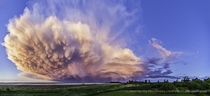 A Retreating Thunderstorm at Sunset in southern Alberta Canada