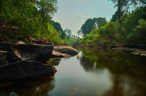 A river deep in the jungle in the Koh Kong region Cambodia