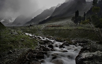 A river in monsoon Sonmarg Kashmir