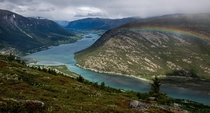 A river leading to the town of Lom in Jotunheimen Norway