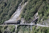 A rock fall shelter and aqueduct on the Arthurs Pass section of New Zealand State Highway  near Otira