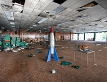 A rocket ship in the dining room of the abandoned homowack lodge Catskills NY