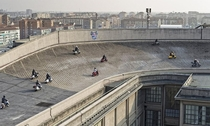 A rooftop racetrack on Fiats Lingotto factory in Turin Italy