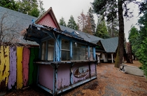 A rotting concessions stand sits forlornly in the rain at Santas village in the San Bernadino mountains region SoCal OC   x