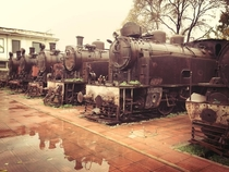 A row of abandoned engines in Vlos Greece by Eve Tokens  x-posted rSteamPorn