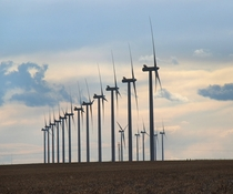 A row of wind turbines near Limon Colorado