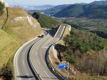 A runaway truck ramp on Misiryeong Penetrating Road in Gangwon Province Korea