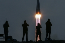 A Russian Soyuz blasts off from Kazakhstans Baikonur cosmodrome
