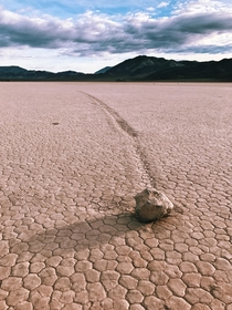 A sailing stone on The Racetrack Playa Death Valley Scientists only recently learned how these rocks move