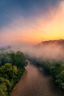 A scene Ive been picturing in my mind for years finally happened on Tuesday Heavy fog over Cuyahoga River with an incredible sunrise to illuminate it all Cuyahoga Valley National Park Ohio
