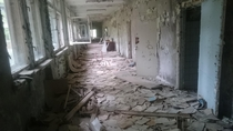 A school in pripyat Ukraine that I visited in  the books were a metre deep in some places