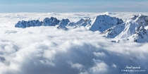 A sea of clouds in the French Alps Alpe DHuez