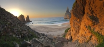 A secluded beach on the coast of Portugal named Praia da Ursa