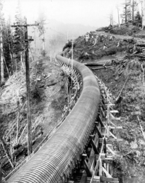 A Section of a Four-Mile-Long Douglas Fir Wood-Stave Pipe for Conveyance of Water to a Power Plant - circa