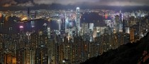 A  segment non-HDR panorama of the Hong Kong night skyline Taken in June from Lugard Road at Victoria Peak   Samuel Louie