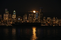 A Shadow Freighter and the Shiny Moon Downtown Seattle WA - taken by my sister Zo Burchard