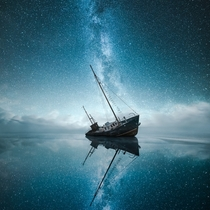 A Shipwreck under the Milky Way  Photographed by Mikko Lagerstedt