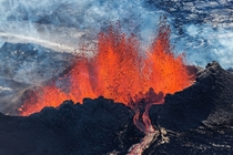 A shot from the ongoing volcanic eruption at Holuhraun Iceland Photo by Iurie Belegurschi