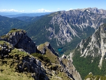A shot of Grner See from on top of the Menerin Mountain in Trag Austria