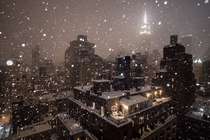 A Shot of Midtown Manhattan and the Empire State Building During the Current Blizzard