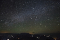 A shot of the annual Geminid meteor showers captured over the Dashanbao Wetlands in China