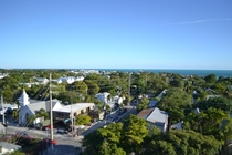 A shot over the streets of Key West Florida