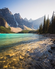 A slightly different view of Lake Moraine at sunset last summer aka Reddit Lake Alberta Canada natureprofessor