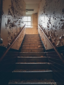 A slowly decaying flight of stairs at Whitchurch Hospital Wales