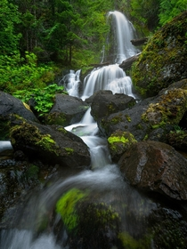 A small cascading waterfall in Washington