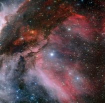 A small corner of the carina nebula covering an area of x light-years taken recently by ESO -metre telescope at ESOs La Silla Observatory in Chile