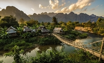 A small farming village in the jungle near Vang Vieng Laos