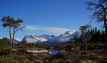 A small Norwegian pond framed by snowy mountains - Lometjnna Gloppen Norway