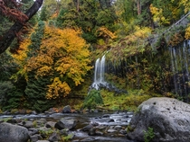 A small section of Mossbrae Falls in Northern California