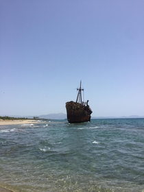 A smugglers ship in Greece which was trying to get cigarettes into the country but ran aground and partially sank