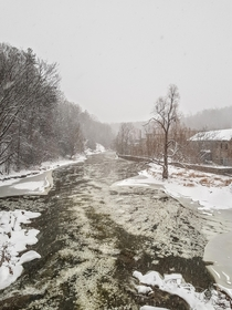 a snowstorm down by the river
